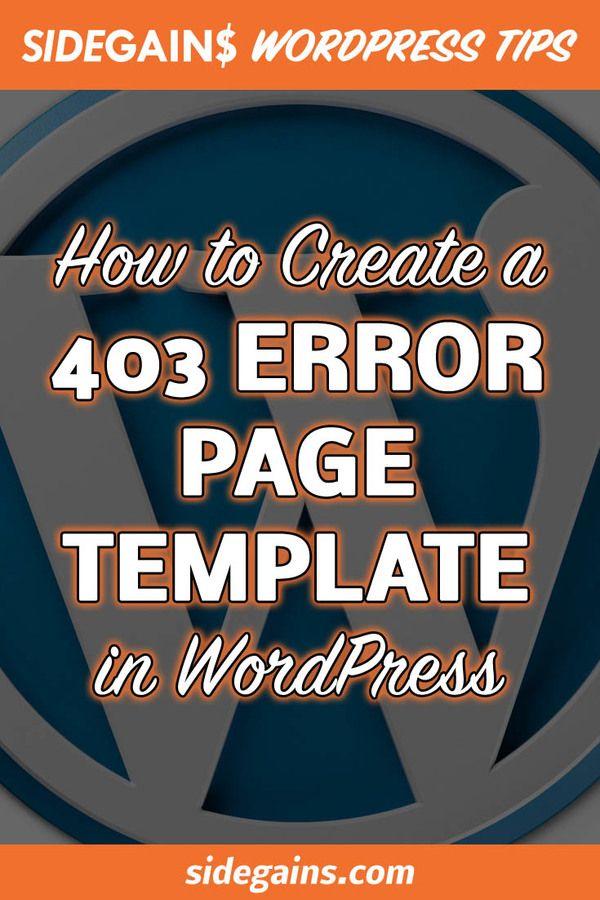 Template 403 Error Page in WordPress