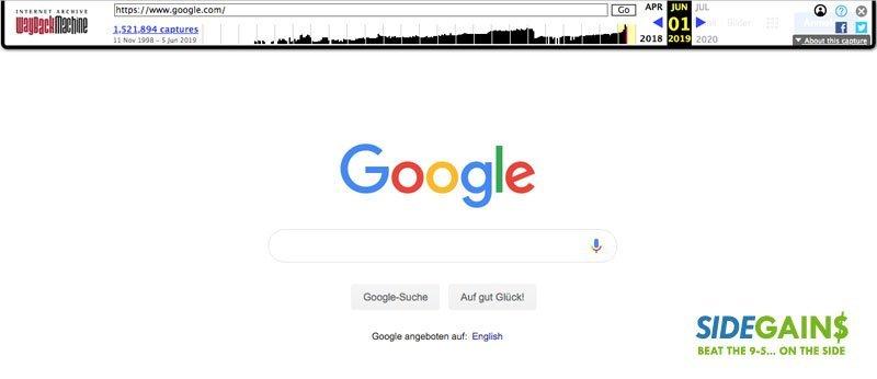 Google Homepage at Wayback Machine