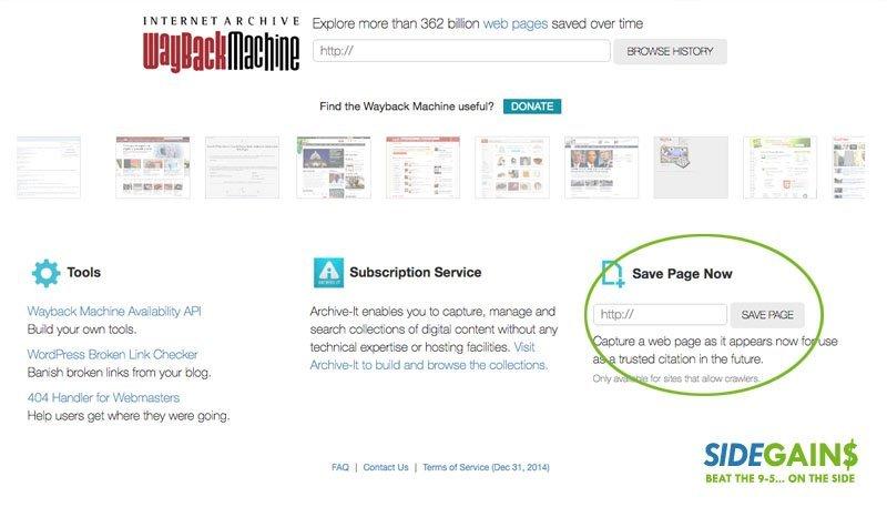 Wayback Machine Save Page
