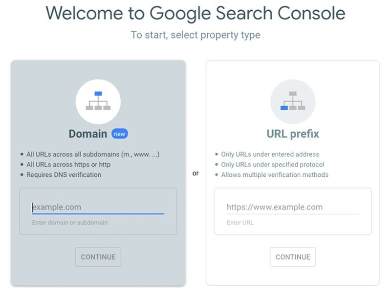 Search Console Property Types