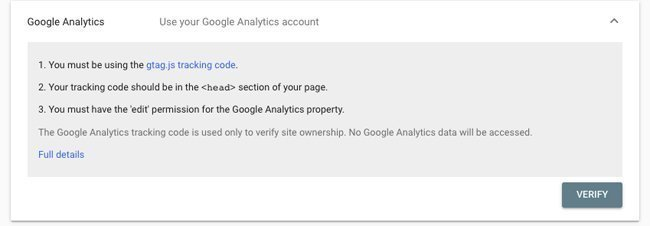 Search Console Verify with Google Analytics