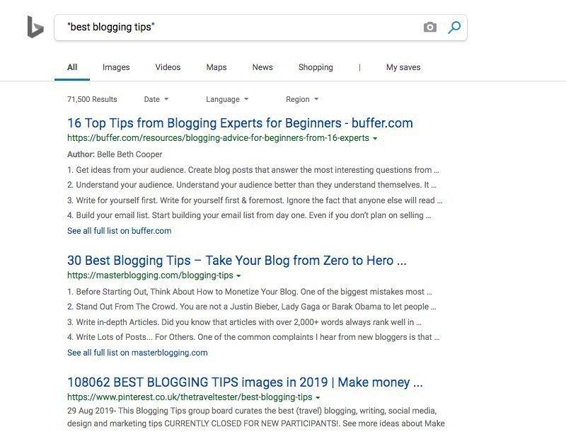 Bing Exact