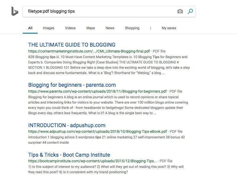 Bing Filetype