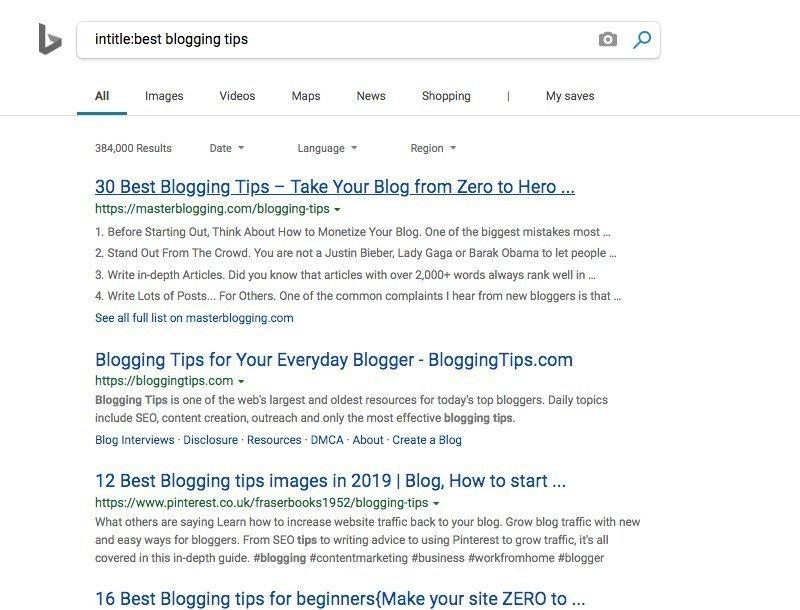 Bing Intitle Search
