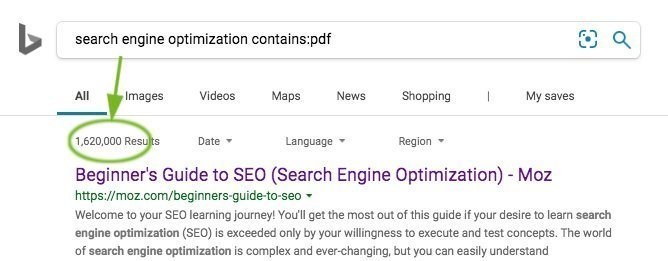 Bing contains: Search Operator
