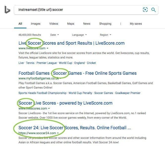 Bing instreamset: Operator