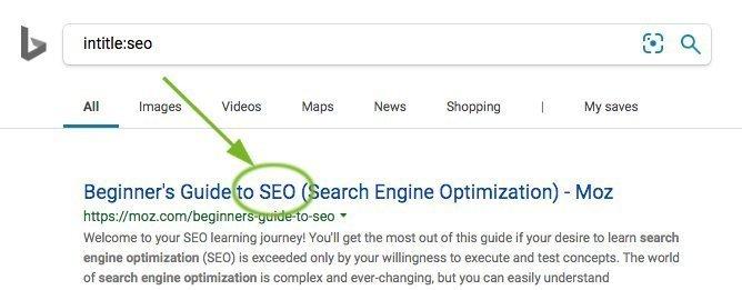 Bing intitle: Operator