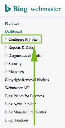 Bing Webmaster Tools Dashboard Menu