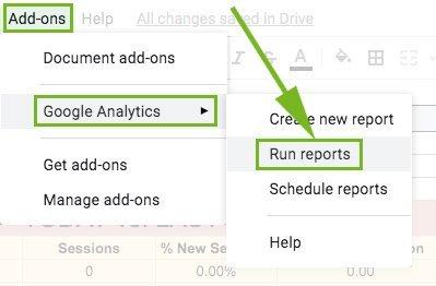 Run Google Analytics Add On