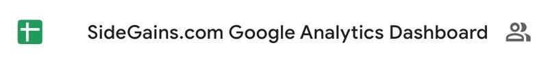 SideGains Google Sheet
