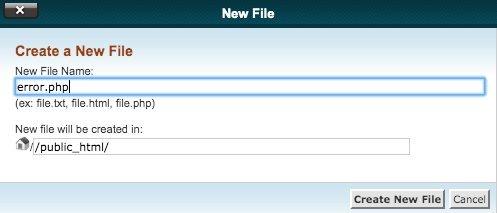 cPanel Create New File