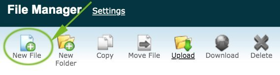 cPanel File Manager Create File