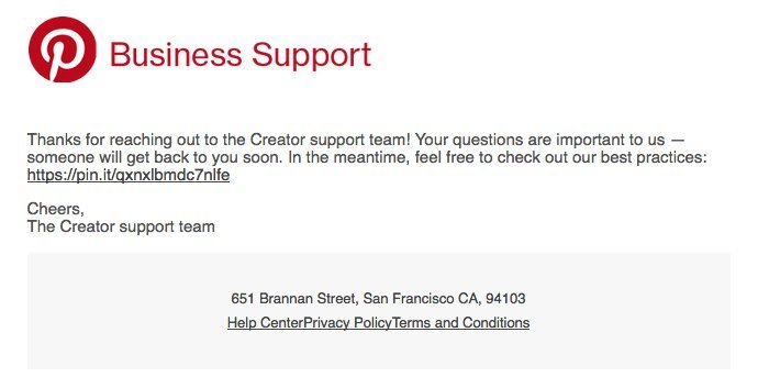 Pinterest Business Support Email