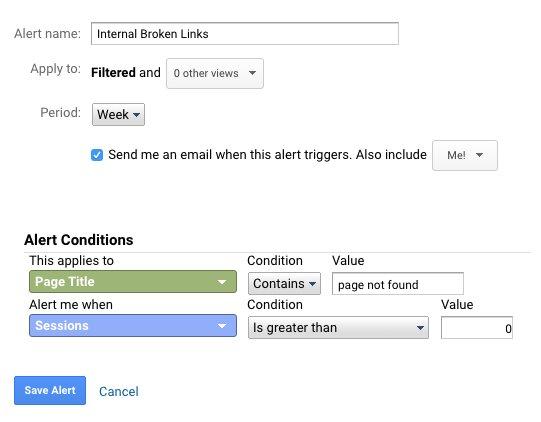 Custom Alert for Broken Links in google Analytics