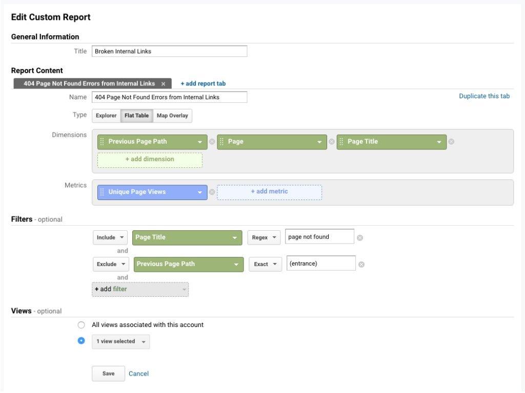 Create Google Analytics Broken Links Report