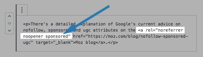 "Add rel=""sponsored"" Links in WordPress"
